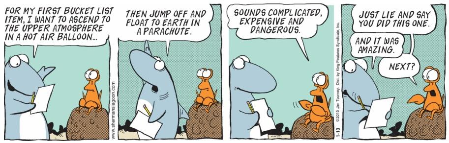 Sherman's Lagoon Bucket List Death Cartoon