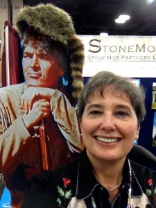 Gail Rubin does a selfie with a Davy Crockett cut-out