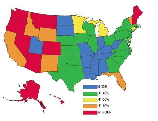 US Cremation Percentages 2010