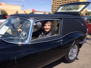 Gail in Jaguar Hearse