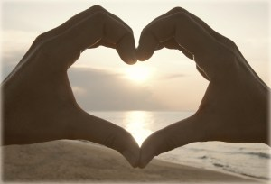 heart hands sea
