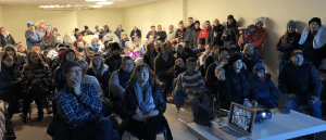 Audience for Tuff Shed showings