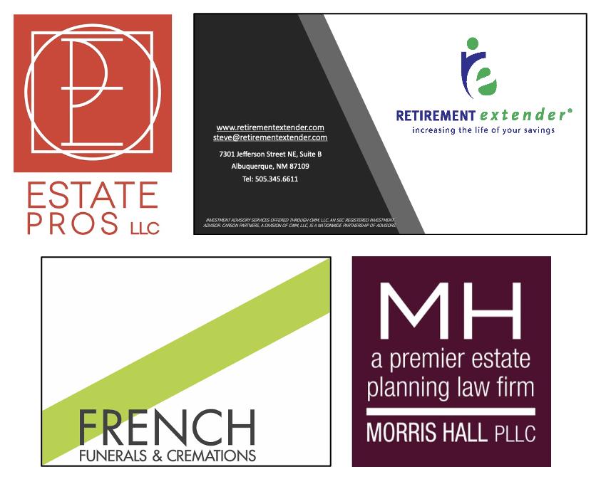 Logos for Estate Pros, Retirement Extender, French & Morris Hall