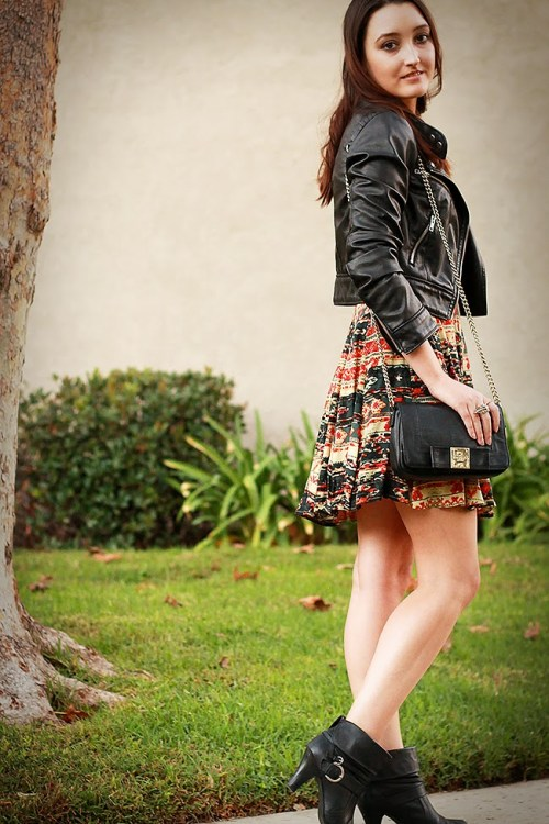 Fall Colors Dress + Faux Leather Jacket