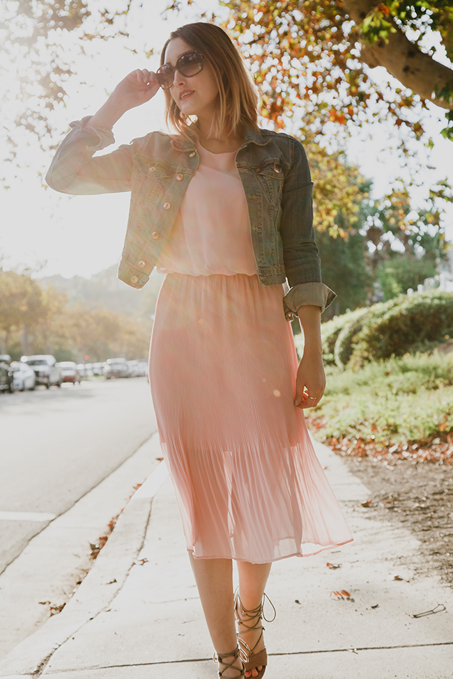 Fall Style: Denim Jacket with Pink Pleated Skirt