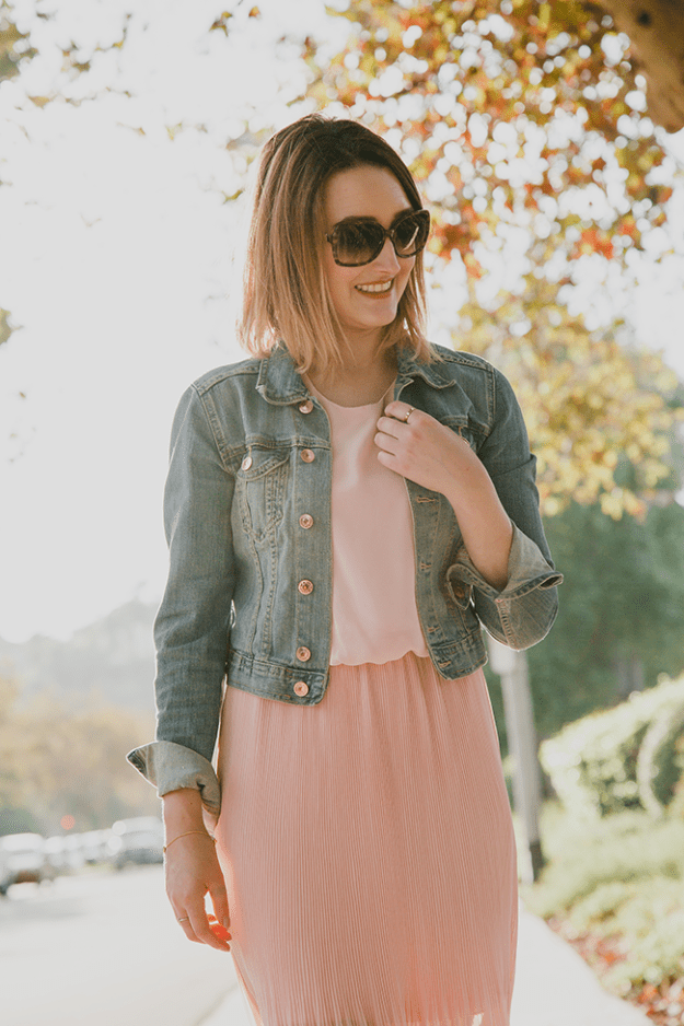 Fall Style: Denim Jacket and Pink Pleated Dress