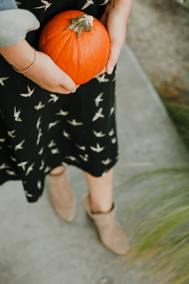 Fall Style: JustFab printed midi dress & Vince Camuto booties