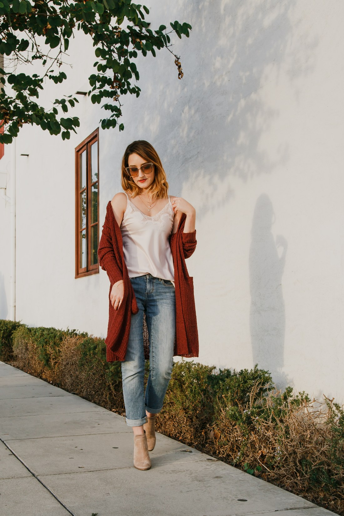 Oxblood Cardigan with Boyfriend Jeans and Camisole