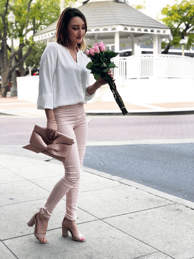 Affordable Valentine;s Day Outfit: LC Lauren Conrad Pintuck Heart Blouse, H&M blush leggings, JustFab Rose Gold Clutch, LC Lauren Conrad Sandals | A Good Hue