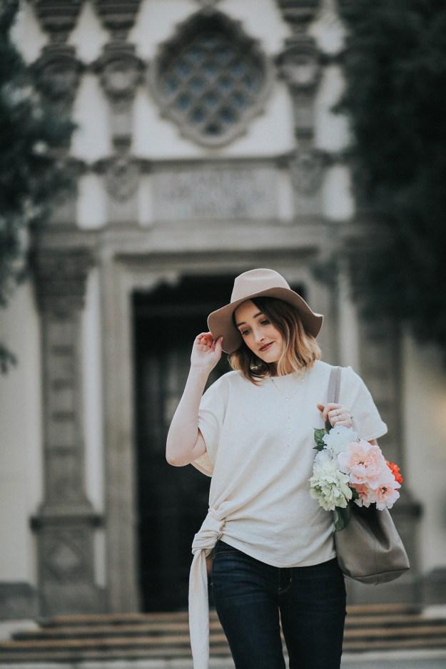 Spring Ready: Zara Side Knot Top & American Eagle Dark Denim Jeans | A Good Hue