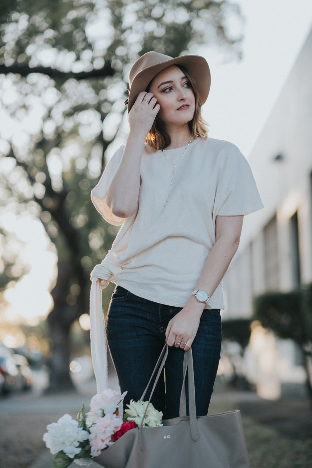 Spring Ready: Zara Side Knot Top & Hat | A Good Hue