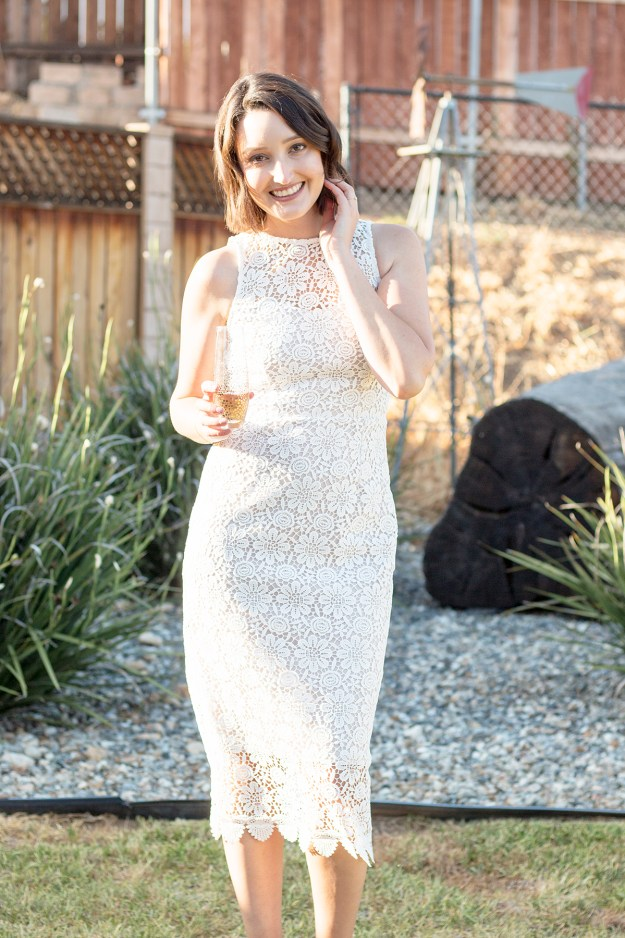Rosé and Bubbly Bridal Shower- BHLDN Belden Dress LWD | A Good Hue