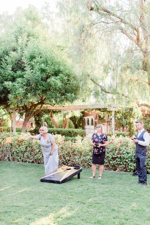 Custom Cornhole Lawn Games at Wedding   A Good Hue