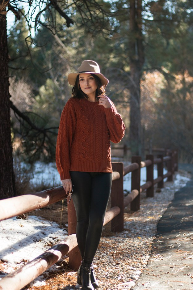 Thanksgiving Outfit Inspiration: JustFab Sweater & Calia Shine Leggings   A Good Hue