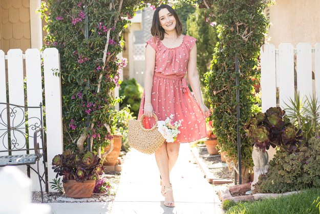 Spring Style: Dusty Pink Floral Dress | A Good Hue