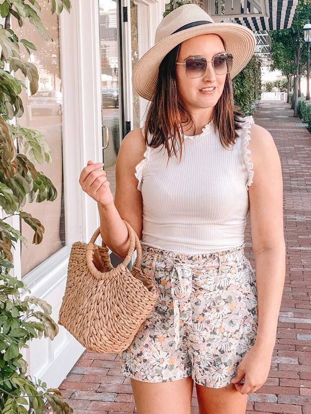 LC Lauren Conrad Floral Paper Bag Shorts | A Good Hue