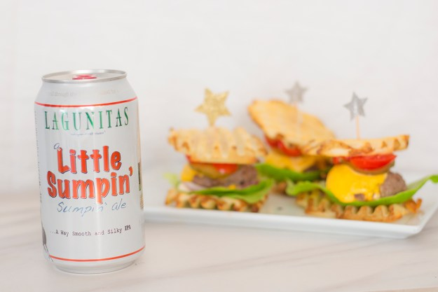 Lagunitas Little Sumpin' Ale paired with Waffle Fry Sliders   A Good Hue