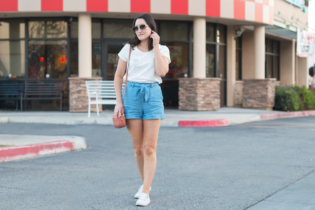 High-Wasit Paperbag Shorts Outfit | A Good Hue