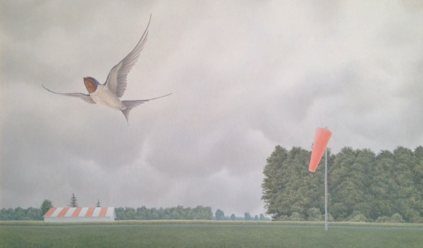 """Barn Swallow and Airfield"" 1993 acrylic on masonite 18 x 20 inches"