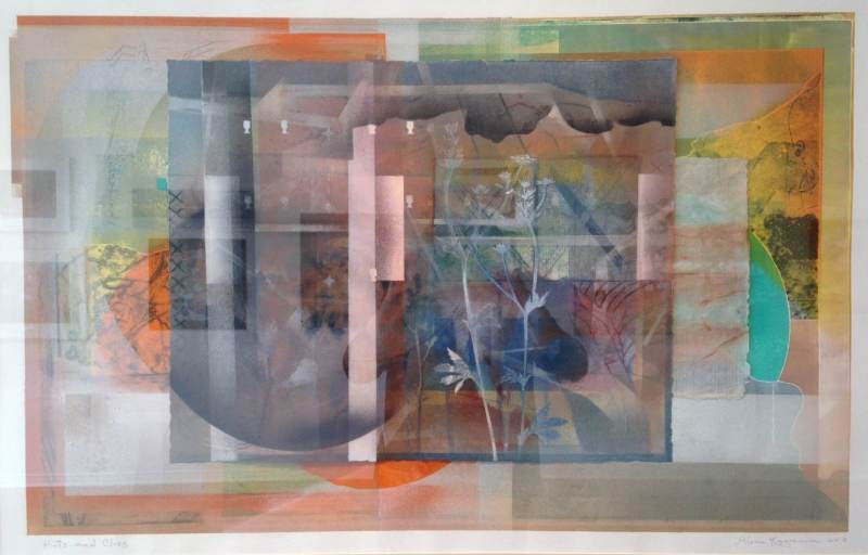Gloria Kagawa, <em>Hints and Clues</em> 2013, mixed media collage, 31 x 43 inches.