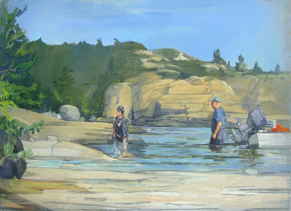 "TOM CAMPBELL, ""First to Shore"" 2013, oil on canvas, 60 x 84inches"