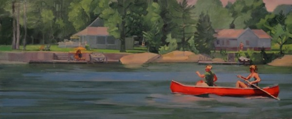 "Tom Campbell, ""Red Canoe"" 2013, oil on canvas, 30 x 72in."