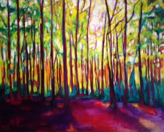 "KATHRYN FRIIS, ""Sunrise Forest"" 2016, oil on canvas, 24 x 30in."