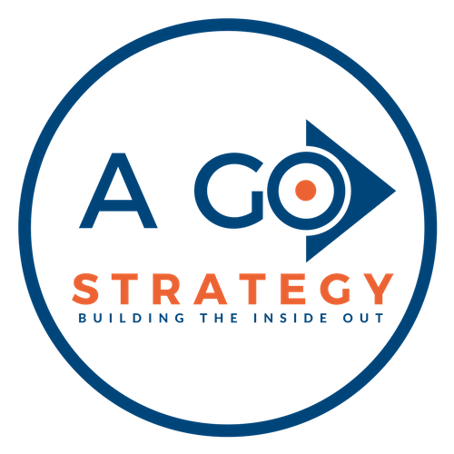 expert digital marketing consultant, A Go Strategy - Building the Inside Out logo surrounded by a blue circle 500 X 500 png high resolution file transparent background