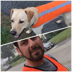 Running with Salty on a foggy day with our high-vis vests