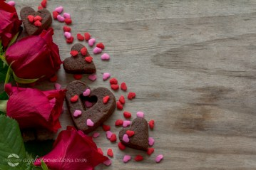 Roses Heart Cookies and Sprinkles with Copy Space