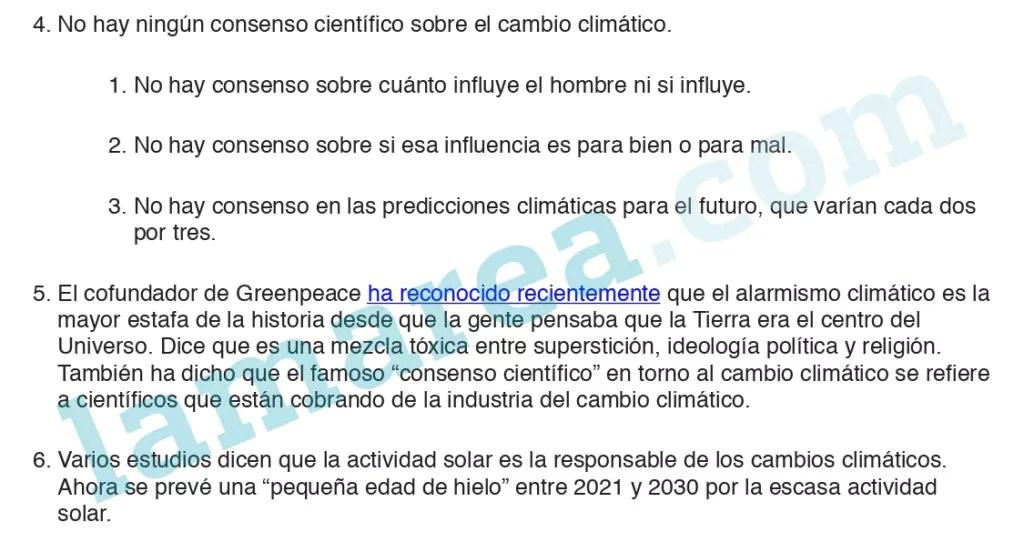Extracto del argumentario de VOX sobre cambio climático