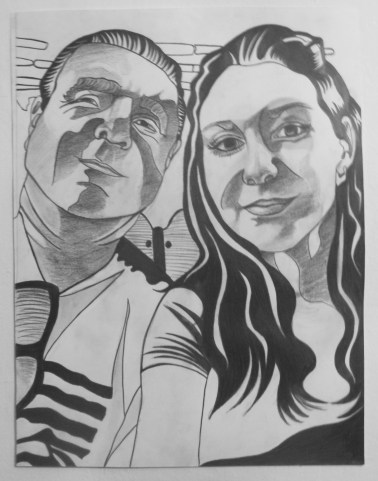 Me and Dad, Selfie Smiling, Graphite on paper, 16 in x 20 in, AnneMarie Graham 2014