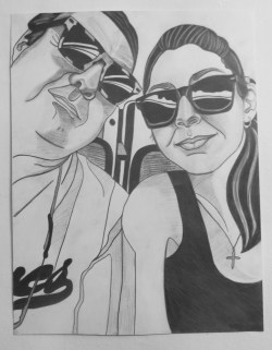 Me and Dad, Selfie at Baseball Game, Graphite on paper, 16 in x 20 in, AnneMarie Graham 2014