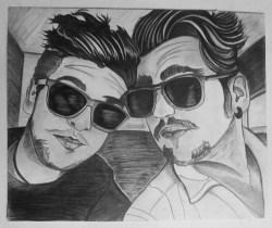 Piero Barone and Ignazio Boschetto, Il Volo, Selfie with Sunglasses, Graphite on paper, 16 in x 20 in, AnneMarie Graham 2014