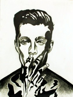 Ray, Smoking Cigarette, Graphite on paper, 12in x 16in, AnneMarie Graham 2016