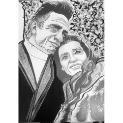 Johnny Cash & June Carter, Graphite and acrylic on paper, 24 in x 36 in, AnneMarie Graham 2015