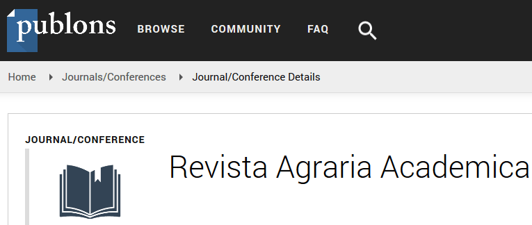 Revista Agraria Academica's page on Publons