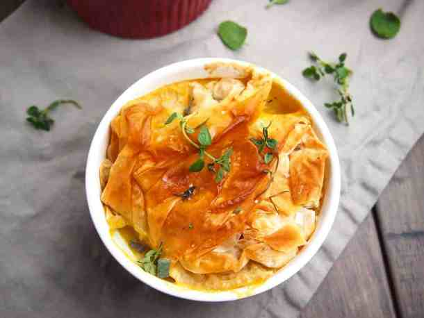 Overhead view of vegetable pot pie with golden crust