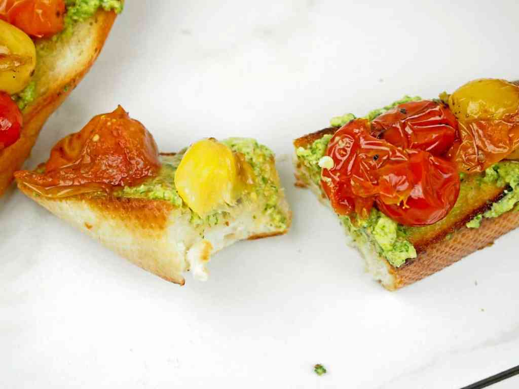 Tomato bruschetta with a bite taken