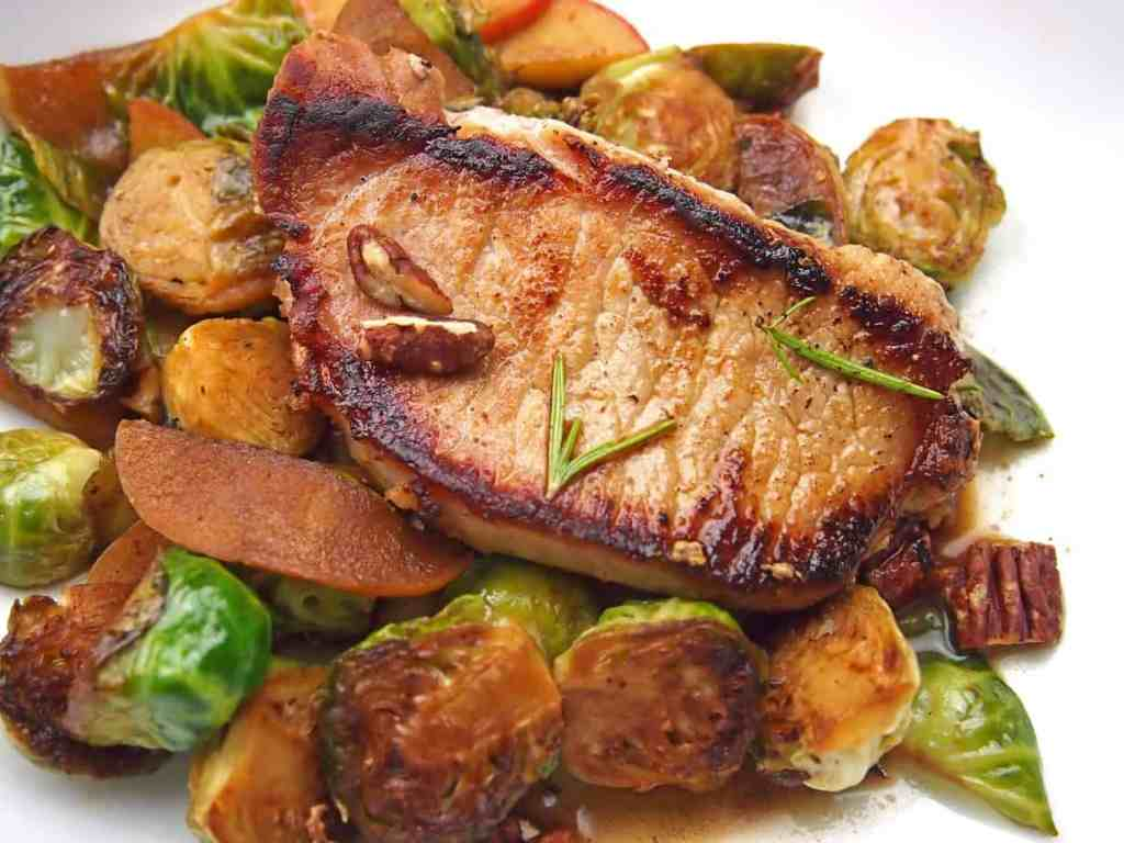 Cider braised pork on a bed of caramelized brussels sprouts
