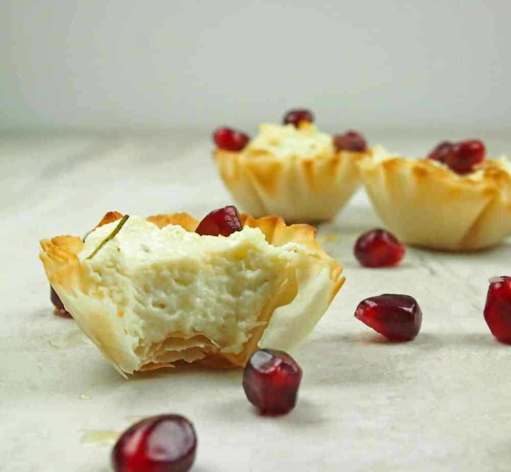 Whipped Feta Phyllo Cups with Pomegranate