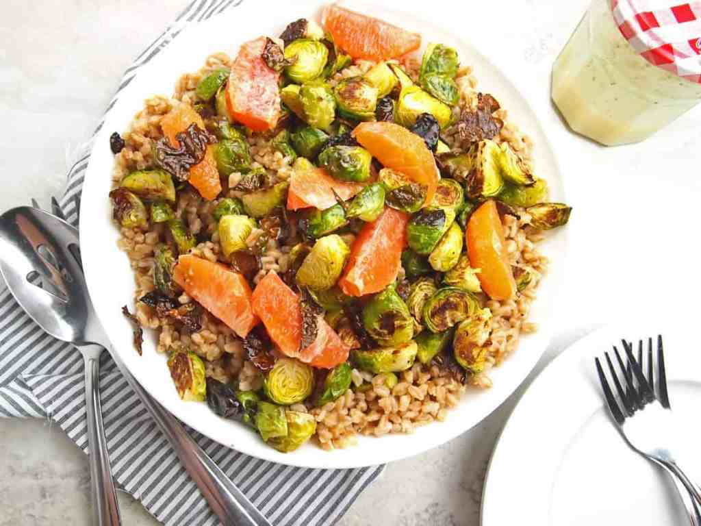 Overview of farro salad with brussels sprouts and citrus