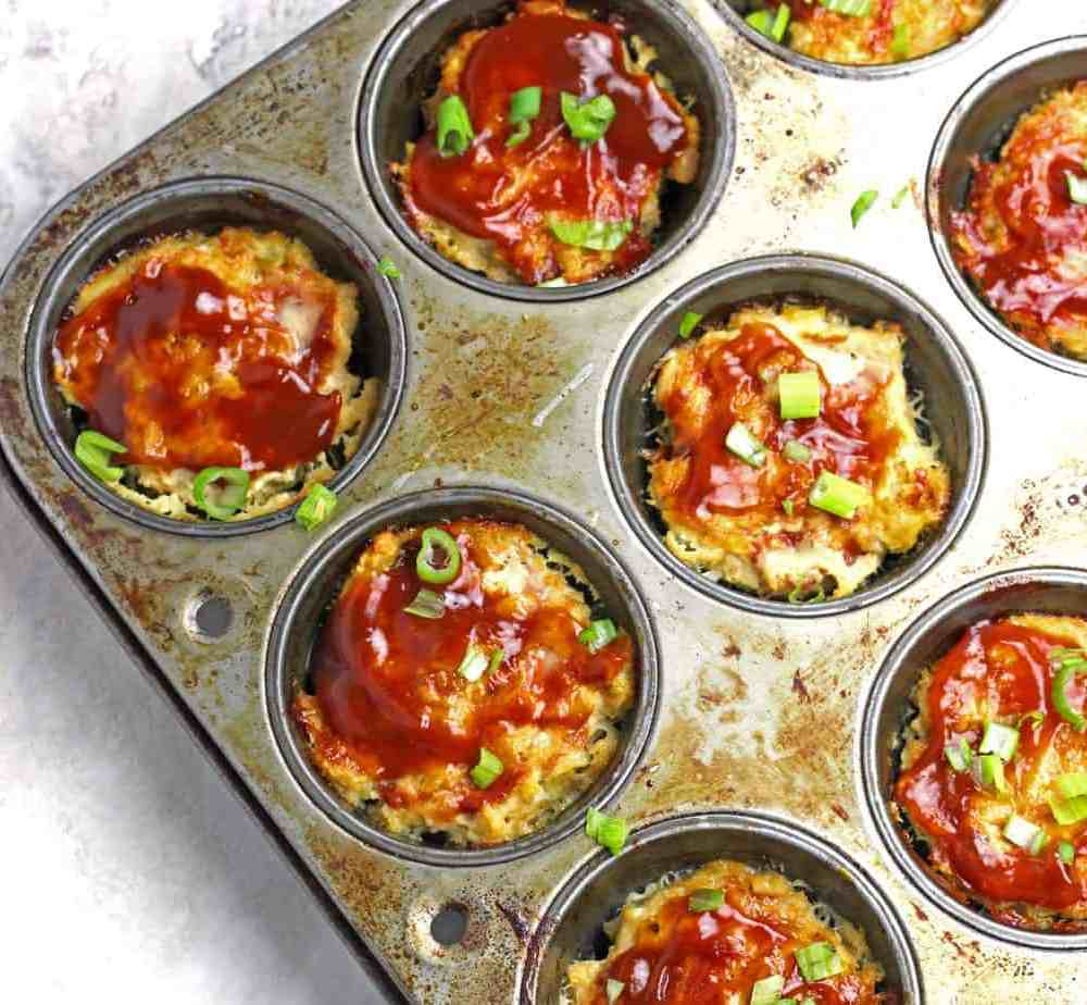 Mini Chicken Meatloaves with Pineapple BBQ Sauce in a Muffin Tin