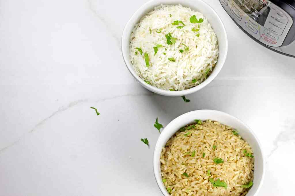 Brown and white instant pot basmati rice on a white background.
