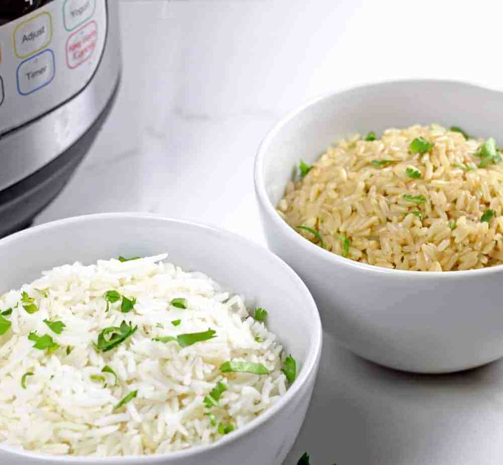 Brown and white instant pot basmati rice on a white background with an instant pot next to it.