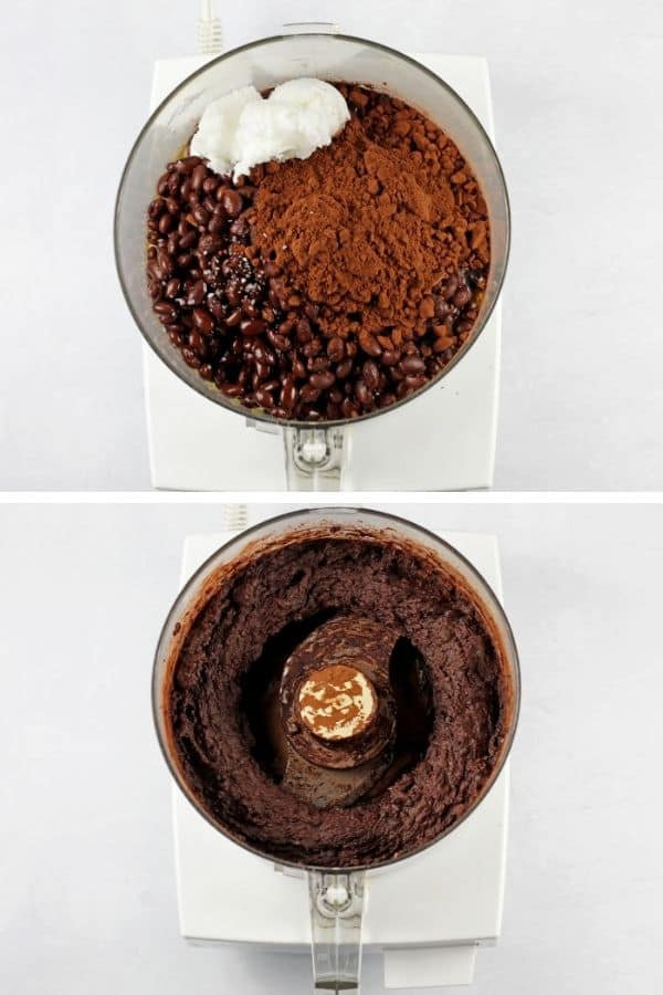 Two images of blended and unblended edible brownie batter in a food processor.