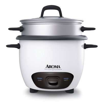 9. Aroma 6-Cup (Cooked) 3-Cup UNCOOKED) Pot Style Rice Cooker And Food Steamer (ARC -743-1NG)