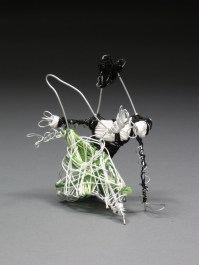 """""""Tiny Dancers"""" Wire and embroidery floss as stylized initials (""""A"""" in the tux and """"G"""" in the dress). Each 3"""" x 5"""". 2011."""