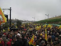 Jornaleros en una manifestación sobre subsidio agrario