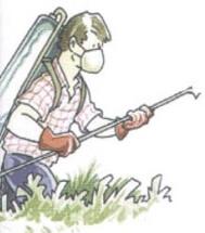 dibujo de agricultor usando Fitosanitarios
